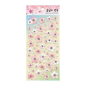 Adesivo Divertido de Papel - Flor Sakura Verde Água