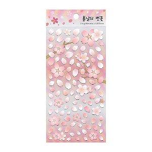 Adesivo Divertido de Papel - Flor Sakura Rosa