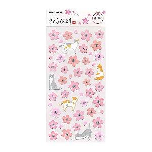 Adesivo Divertido Papel - Sakura Biyori Flores de Sakura Gatos Rosa