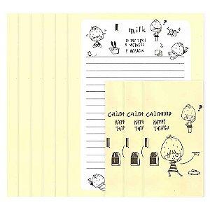 Papel de Carta Menina Morango Amarelo