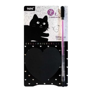 Kit de Post-it e Caneta Gel Roxa Gato