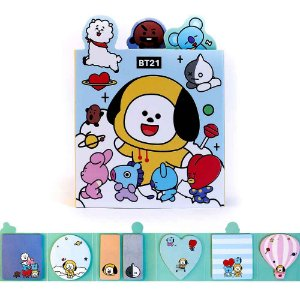Cartela de Post-it BT21 BTS 7 Blocos Chimmy