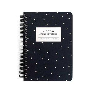 Caderneta Espiral Capa Dura Spring Notebook Azul Escuro Poá - Artbox