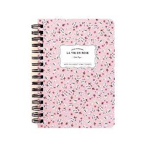 Caderneta Espiral Capa Dura La Vie En Rose Floral Rosa - Artbox
