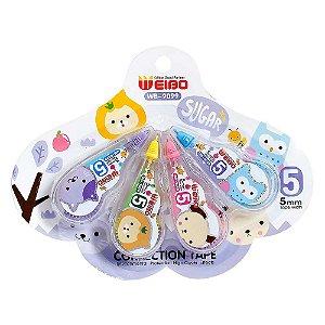 Kit de 4 Corretivos em Fita Correction Tape Sugar Roxo