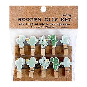 Prendedor de Madeira Com Cordão Wooden Clip Set Cacto