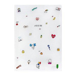Pasta Plástica em L 6 Bolsos 6 Pocket File Desenhos - Artbox