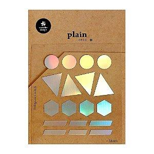 Adesivo Divertido Holográfico - 2 Cartelas Plain Deco + n.25