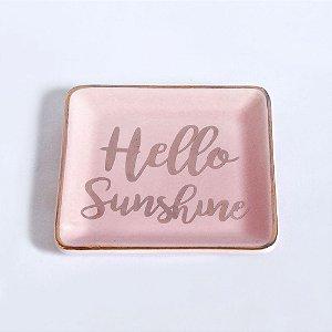 Pratinho Pequeno Porta Anéis de Cerâmica Quadrado Rosa Hello Sunshine