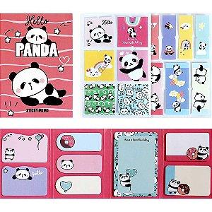 Cartela de Post-it e Adesivos 8 Blocos Panda Vermelho