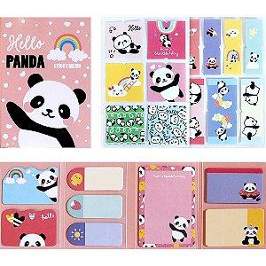 Cartela de Post-it e Adesivos 8 Blocos Panda Rosa