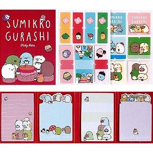 Cartela de Post-it e Adesivos 4 Blocos Sumikko Gurashi Vermelho