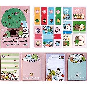 Cartela de Post-it e Adesivos 4 Blocos Sumikko Gurashi Rosa