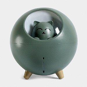 Umidificador de Ar Silencioso Gato USB Com Luz Led Colorida - Verde