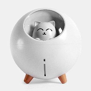 Umidificador de Ar Silencioso Gato USB Com Luz Led Colorida - Branco