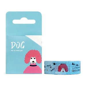 Fita Decorativa Washi Tape - Dog Cachorro Poodle Azul