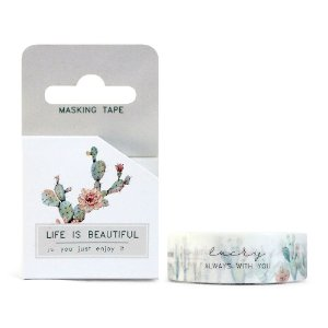 Fita Decorativa Washi Tape - Plantas Cacto Life Is Beautiful