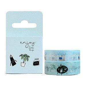 Kit de 2 Fitas Decorativas Washi Tape - Home Enjoy The Little Things Azul