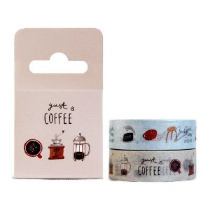 Kit de 2 Fitas Decorativas Washi Tape - Home Just Coffee Marrom