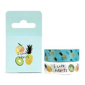 Kit de 2 Fitas Decorativas Washi Tape - Comidas I Love Fruits Azul