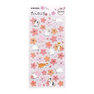 Adesivo Divertido Papel - Sakura Biyori Flores de Sakura e Gatos