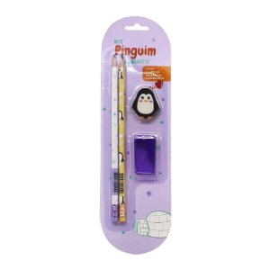Kit 2 Lápis HB 1 Borracha 1 Apontador Tema Pinguim Roxo