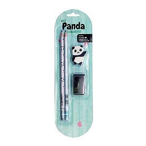 Kit 2 Lápis HB 1 Borracha 1 Apontador Tema Panda Preto