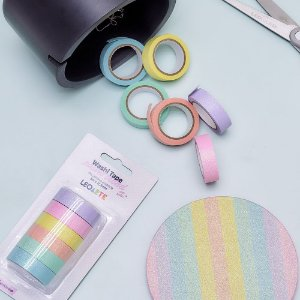 Kit de 6 Washi Tapes Pastel Trend Glitter