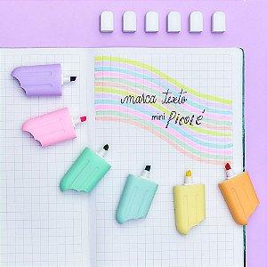 Kit 6 Marca Textos Mini Picolé Tons Pastel