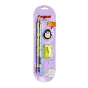 Kit 2 Lápis HB 1 Borracha 1 Apontador Tema Pinguim Amarelo