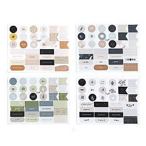 Kit de 4 Cartelas de Adesivos - Coleção Kraft