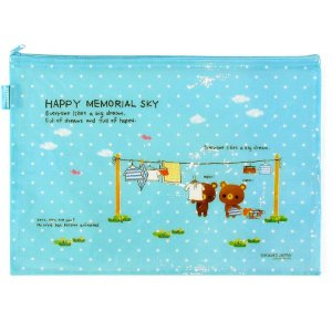 Pasta de Plástico com Zíper Happy Memorial Sky Ursinhos - Azul Poá