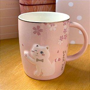 Caneca de Cerâmica Gato Sakura Rosa