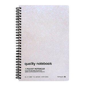 Caderno Espiral Capa Dura Pautado Com Bolso Quality Notebook Creme - Morning Glory