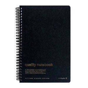 Caderno Espiral Capa Dura Pautado Com Bolso Quality Notebook Preto - Morning Glory