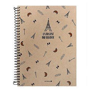 Caderno Espiral Sem Pauta Exercise Notebook Kraft Torre Eiffel - Morning Glory