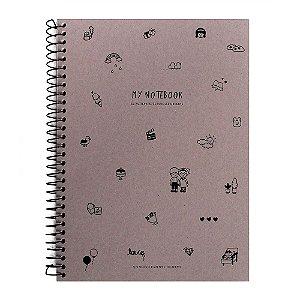 Caderno Espiral Sem Pauta My Notebook Kraft Desenhos - Artbox