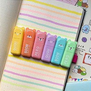 Kit Com 6 Mini Marca Textos Ursinhos Tons Pastel Com Case