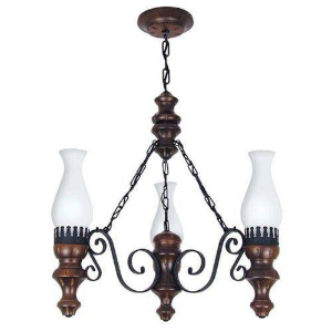 Luminária lustre rústico envelhecido 3 lâmpadas Muller 803e