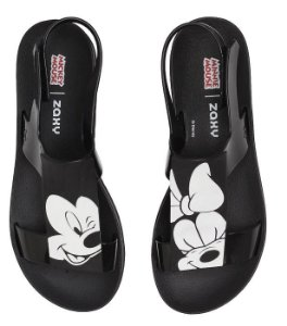 Zaxy Sandália Playful Mickey E Minnie Preto