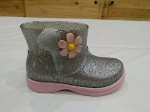 Bota Mia Baby Gliter prata/Rosa BB - World Colors