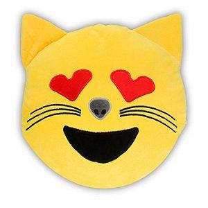 Almofada Emoji Gatinho Com Bolso - Poopstore