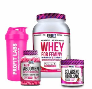 Kit - Combo - Whey For Feminy (900g) + Colageno + Abdomem Thermogenic