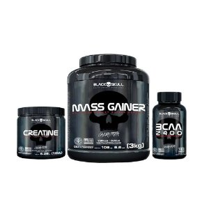 [MASSA] Mass Gainer (3kg) + Creatina (150g) + BCAA (100 caps)