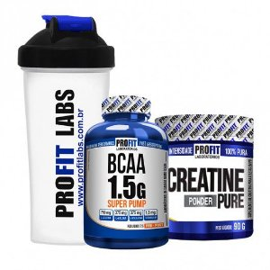 Coqueteleira + BCAA 1,5g Super Pump (60caps) + Creatine Powder Pure (90g) - ProFit