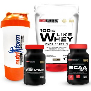 CREA. 100% (100 GRAMAS) + BCAA 800 (120 TABLETS) + 100% LIKE WHEY PURE PROTEIN (1,8 KG Refil) + COQUETELEIRA