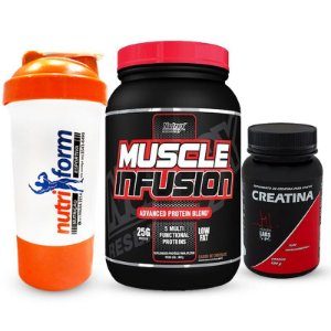 MUSCLE INFUSION NUTREX (900 gramas) + CREA. PURE HEALTH LABS (100 gramas) + Coqueteleira