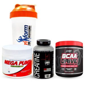 BCAA DRIVE 500mg NUTREX (200 tabletes) + C PURE HEALTH LABS (100 gramas) + MEGA PUMP HEALTH LABS (150 gramas) + Coqueteleira