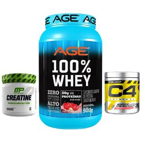 AGE 100% WHEY 907g + C4 CELLUCOR 30 DOSES + C MUSCLEPHARM 300g