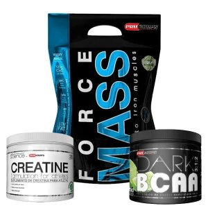 WHEY FORCE MASS 3kg + BCAA DARK + CREA 100g